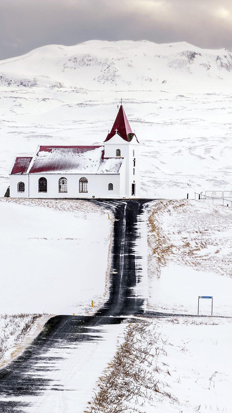 Church Snow Landscape 4K Ultra HD Mobile Wallpaper