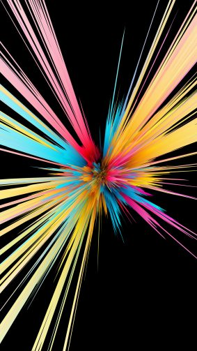 Colorful Particles Explosion Black Background 4K Ultra HD Mobile Wallpaper