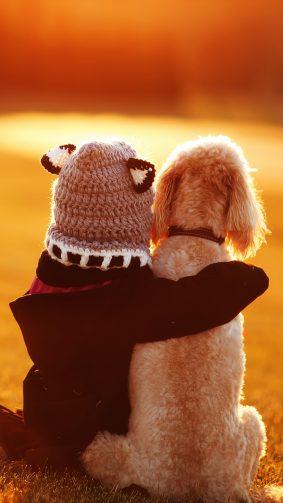 Cute Child Dog Best Friends Sunset 4K Ultra HD Mobile Wallpaper