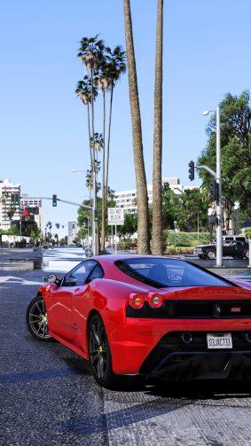 GTA V Red Ferrari 4K Ultra HD Mobile Wallpaper