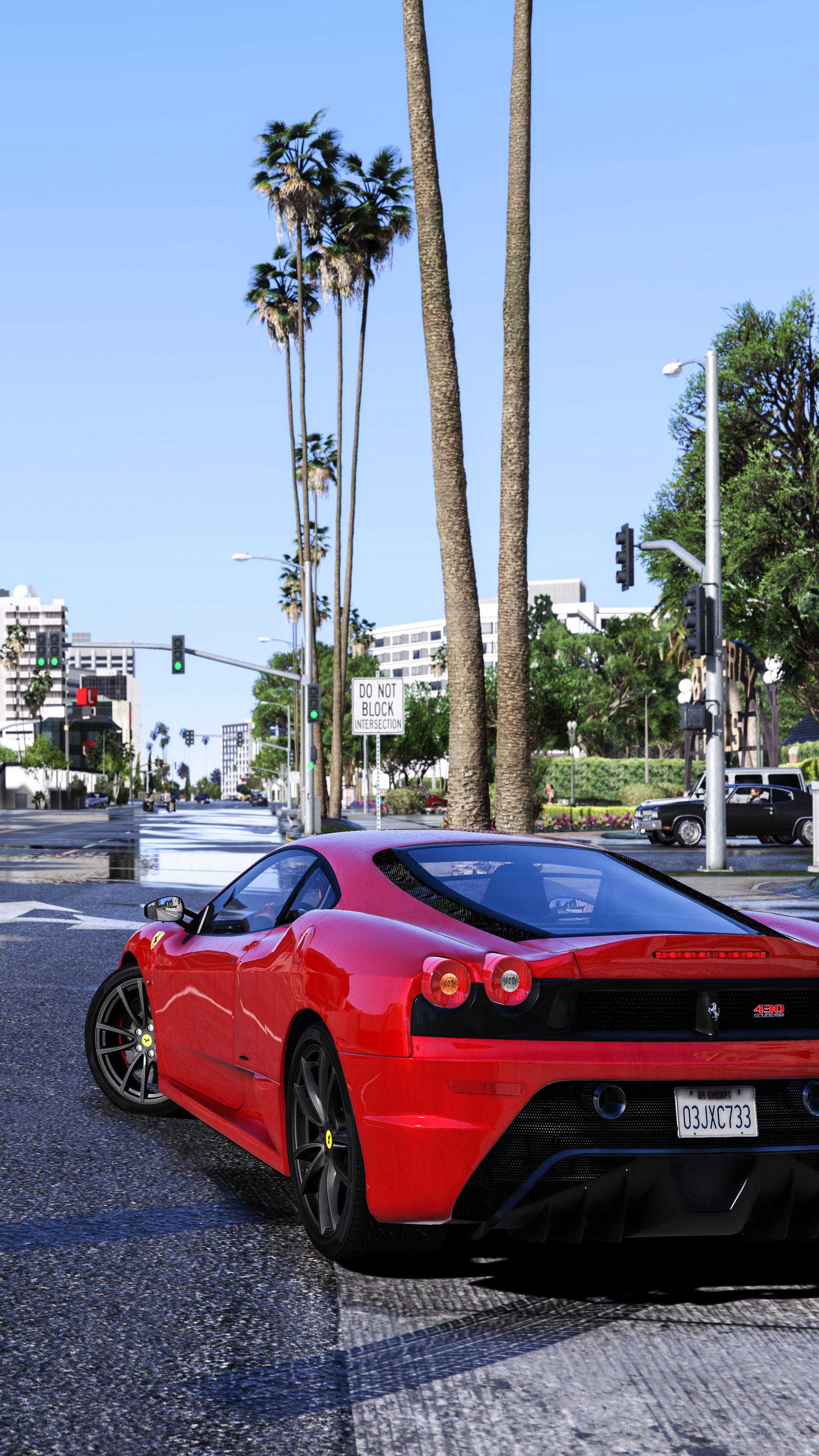 GTA V Red Ferrari Free 4K Ultra HD Mobile Wallpaper