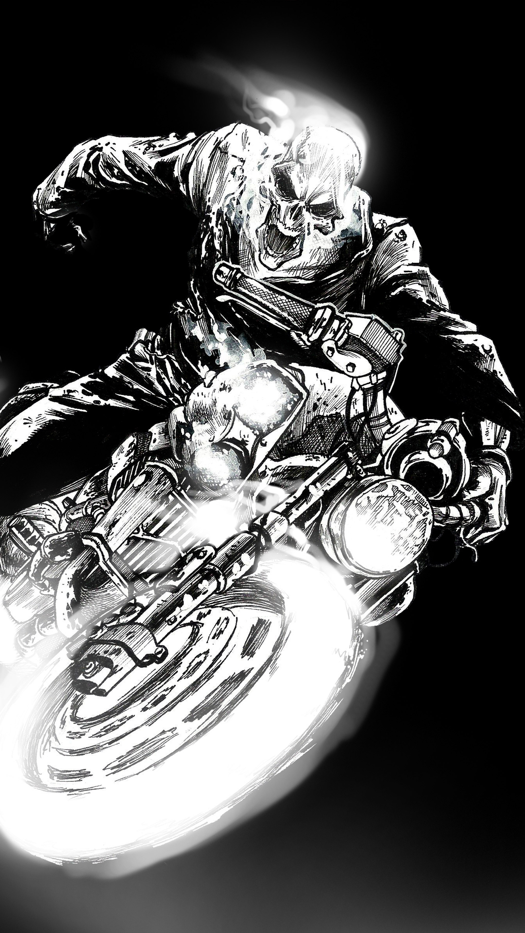 Ghost Rider Black Dark Artwork 4k Ultra Hd Mobile Wallpaper