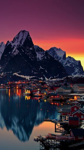 Lofoten Islands Norway Mountains Sunrise 4K Ultra HD Mobile Wallpaper