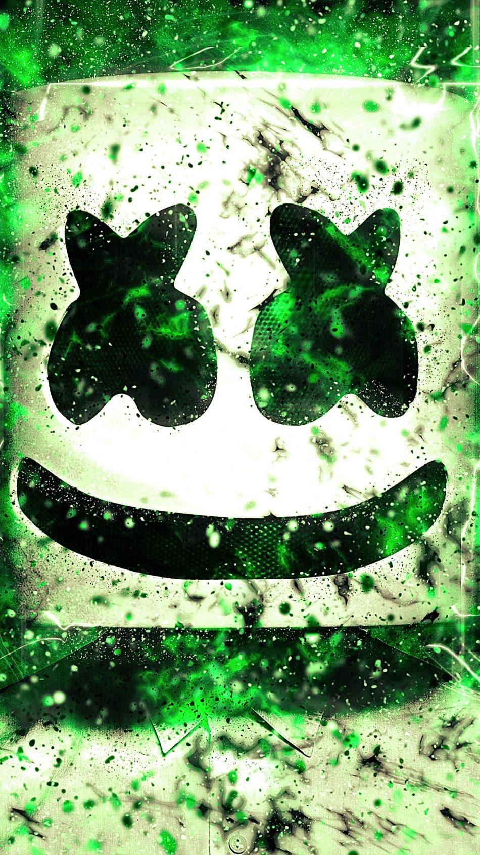 Download marshmello green neon artwork free pure 4k ultra - Neon hd wallpaper for mobile ...