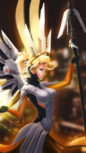 Mercy Overwatch Fan Artwork 4K Ultra HD Mobile Wallpaper
