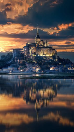Mont Saint Michel France Sunset View 4K & Ultra HD Mobile Wallpaper