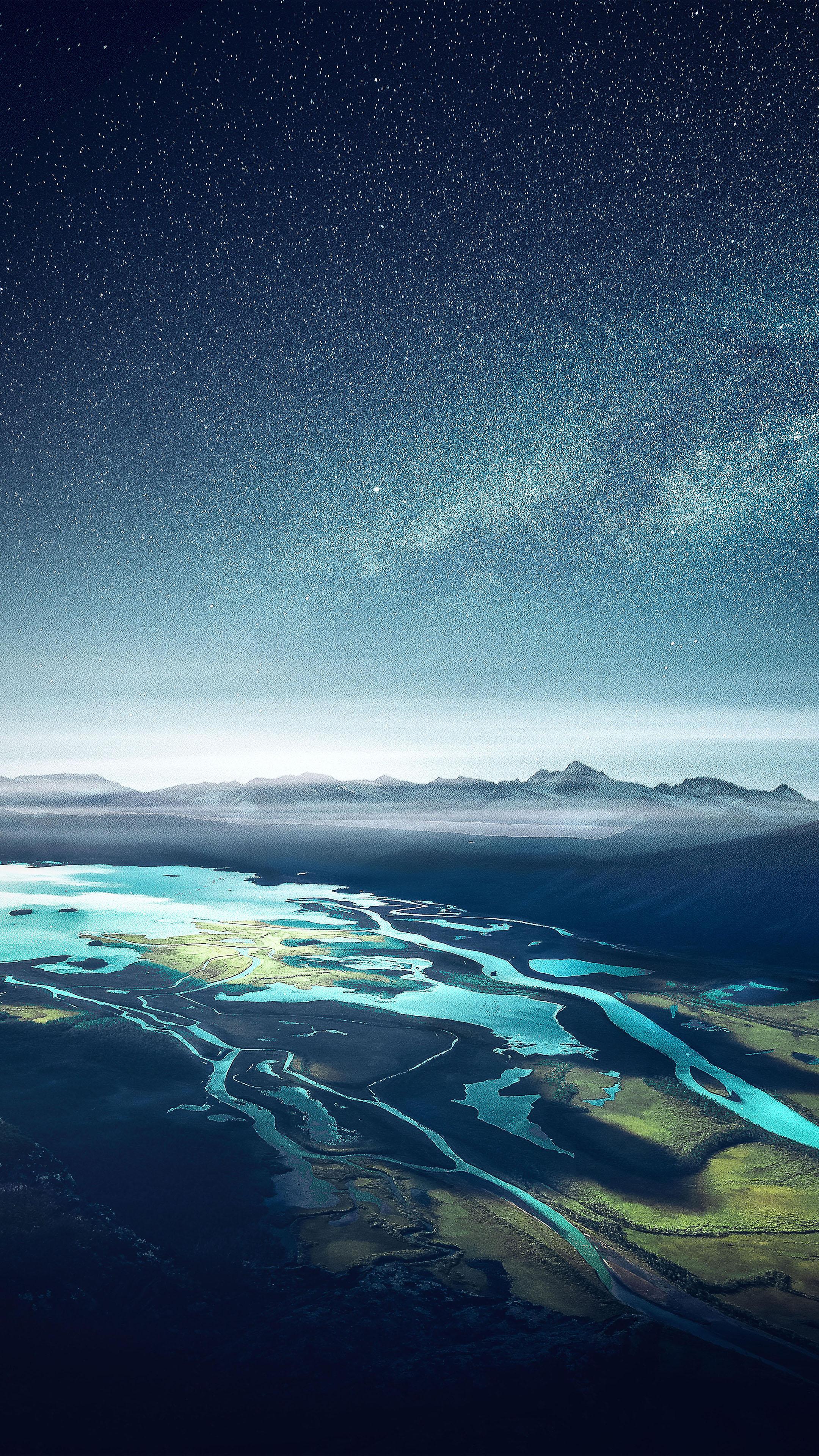 Download Mountain Range River Landscape Starry Sky Free