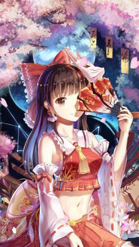Reimu Hakurei Anime Girl 4K & Ultra HD Mobile Wallpaper