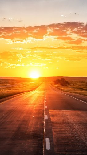 Straight Road Sunset Marking Grass 4K Ultra HD Mobile Wallpaper