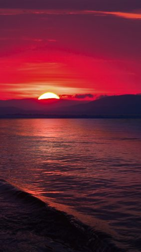 Sunset Sea Hills 4K Ultra HD Mobile Wallpaper