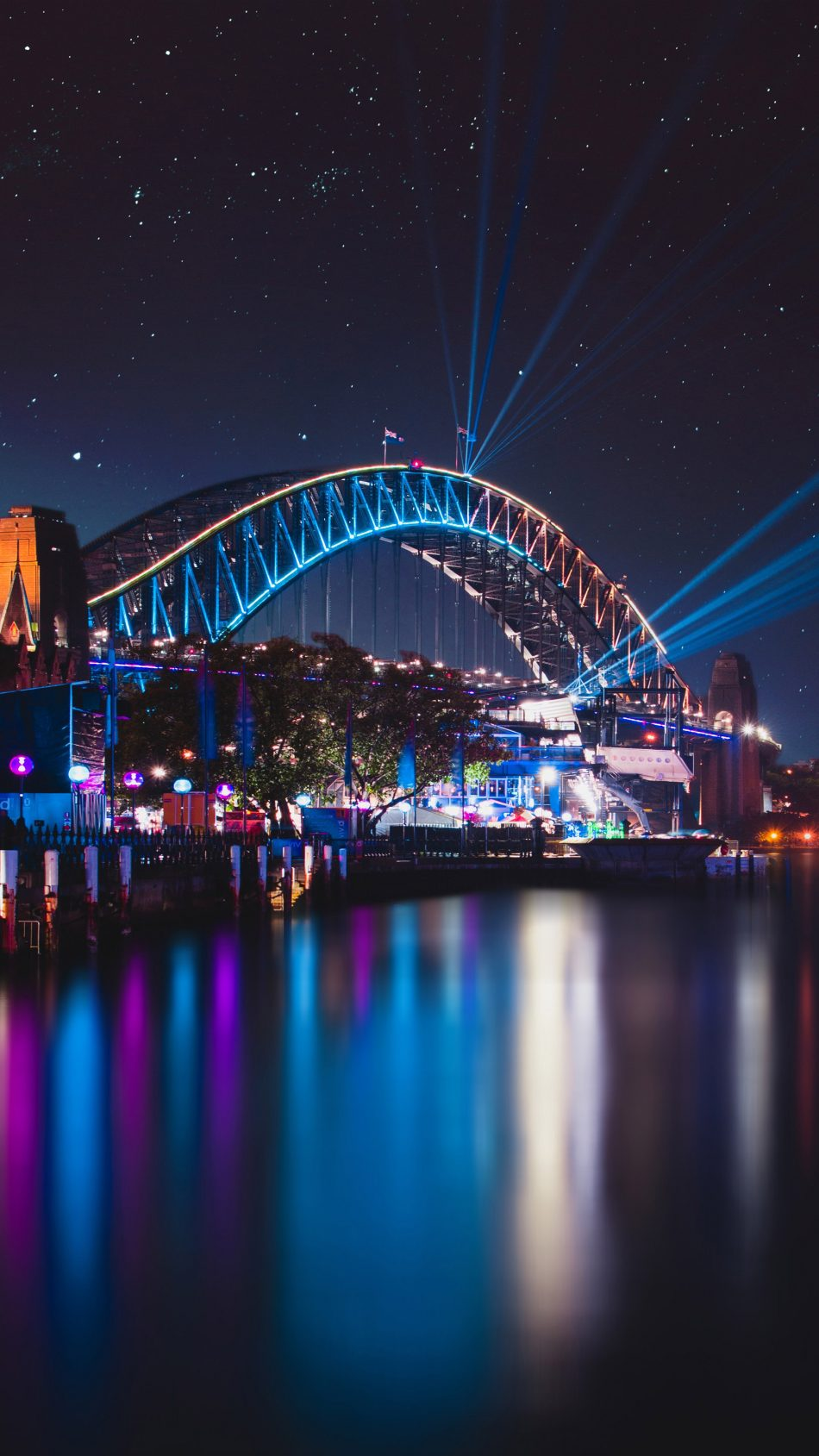 Sydney Harbour Bridge Night Reflections Cityscape 4K Ultra HD Mobile Wallpaper