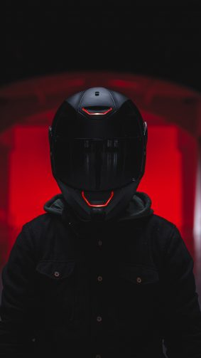 Biker Helmet Red Light 4K Ultra HD Mobile Wallpaper