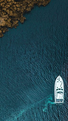 Boat Aerial View From Sky 4K Ultra HD Mobile Wallpaper