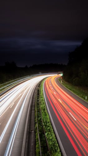Light Trails Night Traffic Long Exposure 4K Ultra HD Mobile Wallpaper