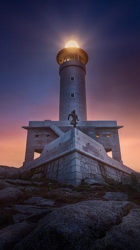 Lighthouse Rock Sunset 4K Ultra HD Mobile Wallpaper