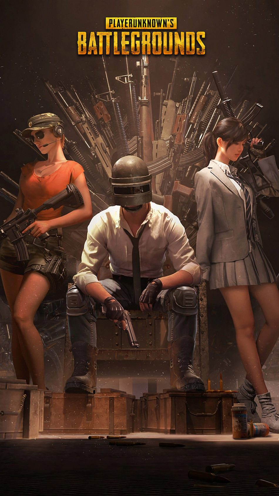 Download Pubg Helmet Guy With Girls Playerunknown S Battlegrounds