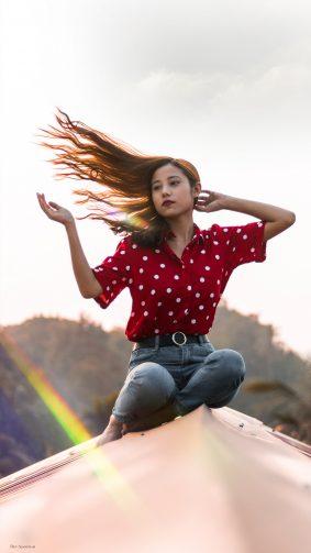 Beautiful North East Girl Hair Flip Photography 4K Ultra HD Mobile Wallpaper