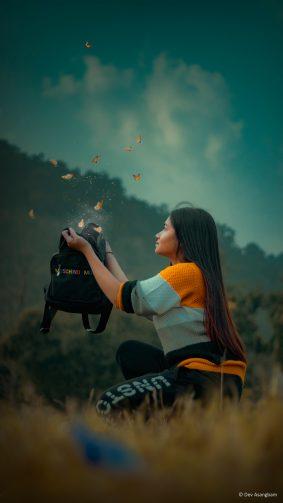 Girl Fantasy Butterflies Photography 4K Ultra HD Mobile Wallpaper