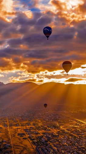 Hot Air Balloons Clouds Sunset 4K Ultra HD Mobile Wallpaper