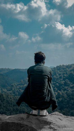 Man Lonely Meghalaya Hills 4K Ultra HD Mobile Wallpaper
