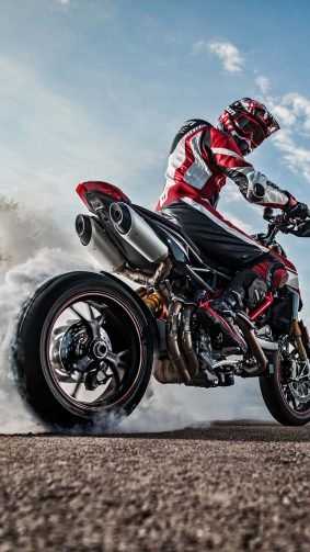 Ducati Hypermotard 950 SP Bike Burnout 4K Ultra HD Mobile Wallpaper