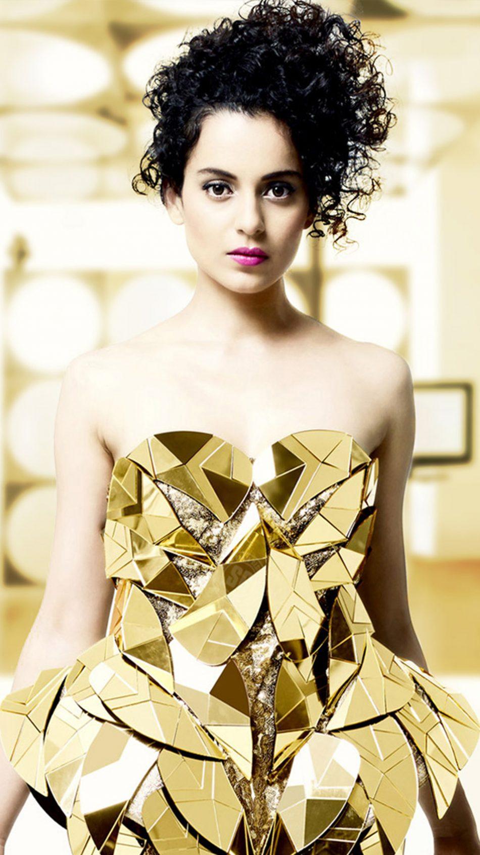 Kangana Ranaut In Golden Metallic Dress 4K Ultra HD Mobile Wallpaper