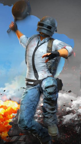 PUBG Helmet Guy Attacking With Pan 4K Ultra HD Mobile Wallpaper