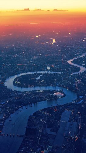 London Cityscape Sunset River Aerial View 4K Ultra HD Mobile Wallpaper
