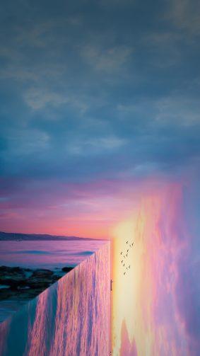 Sunset Sea Reflection Art 4K Ultra HD Mobile Wallpaper