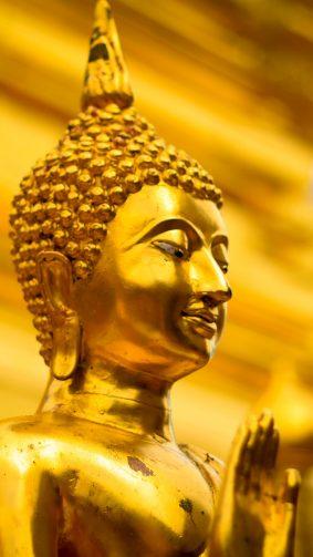 Golden Gautama Buddha Statue Thailand 4K Ultra HD Mobile Wallpaper