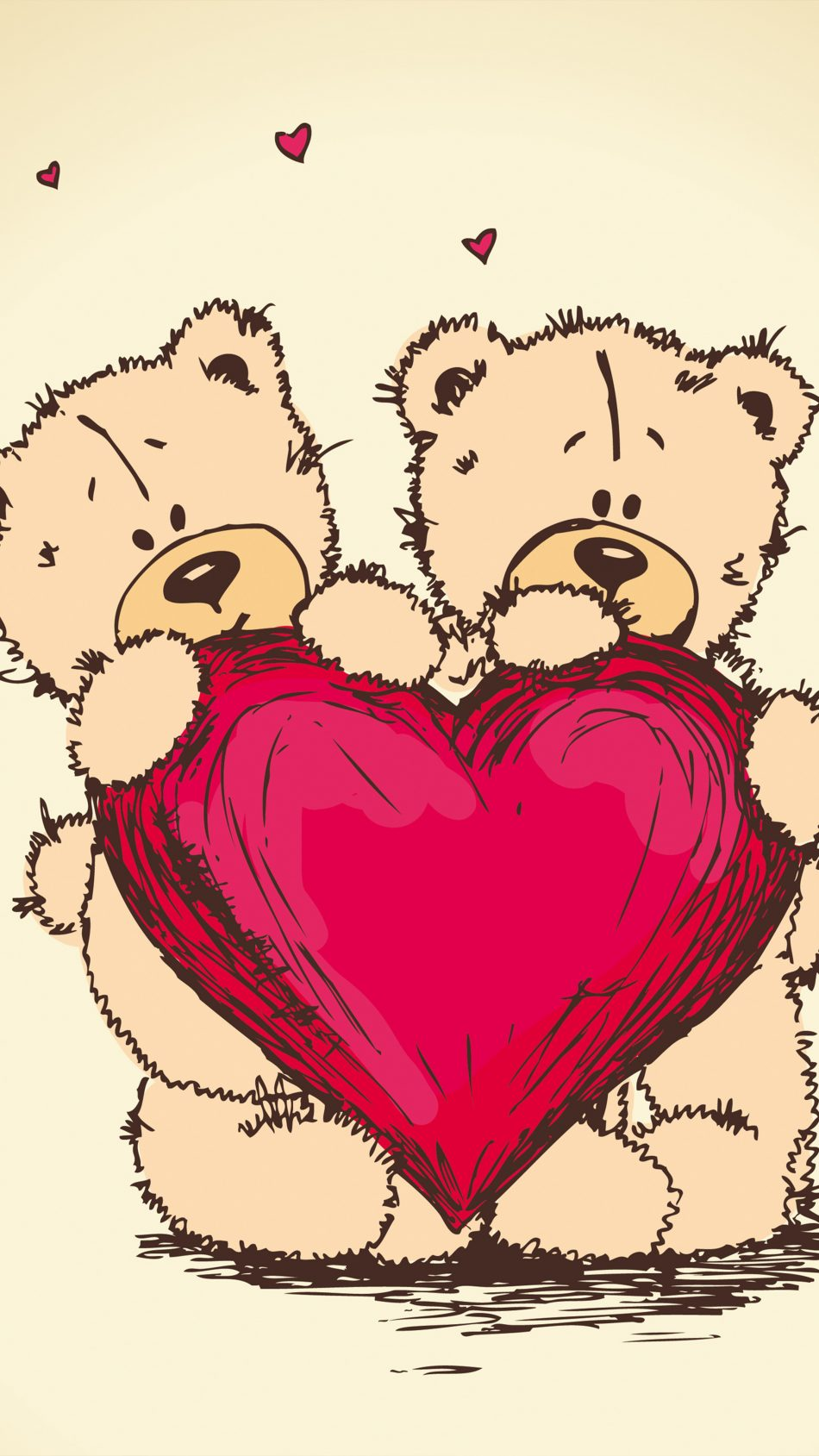 Heart Teddy Bears Valentine's Day Art 4K Ultra HD Mobile Wallpaper
