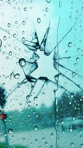 Broken Glass Rain Drops 4K Ultra HD Mobile Wallpaper