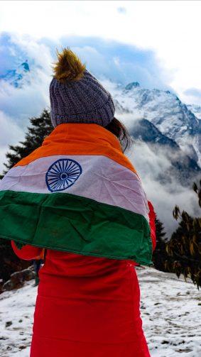 Girl Indian Flag Snow Mountains 4K Ultra HD Mobile Wallpaper