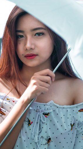 Asian Girl Model Umbrella Sunray 4K Ultra HD Mobile Wallpaper