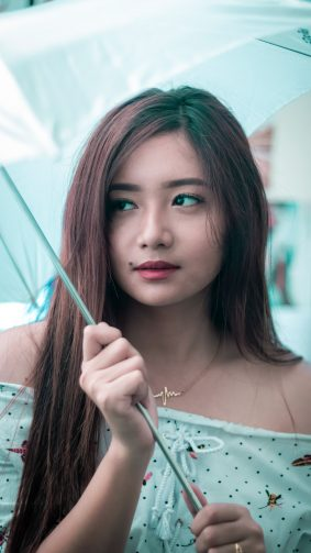 Cute Asian Model Umbrella Photography 4K Ultra HD Mobile Wallpaper
