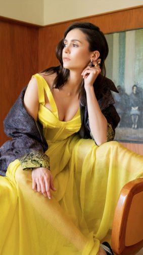 Nina Dobrev In Yellow Dress 4K Ultra HD Mobile Wallpaper