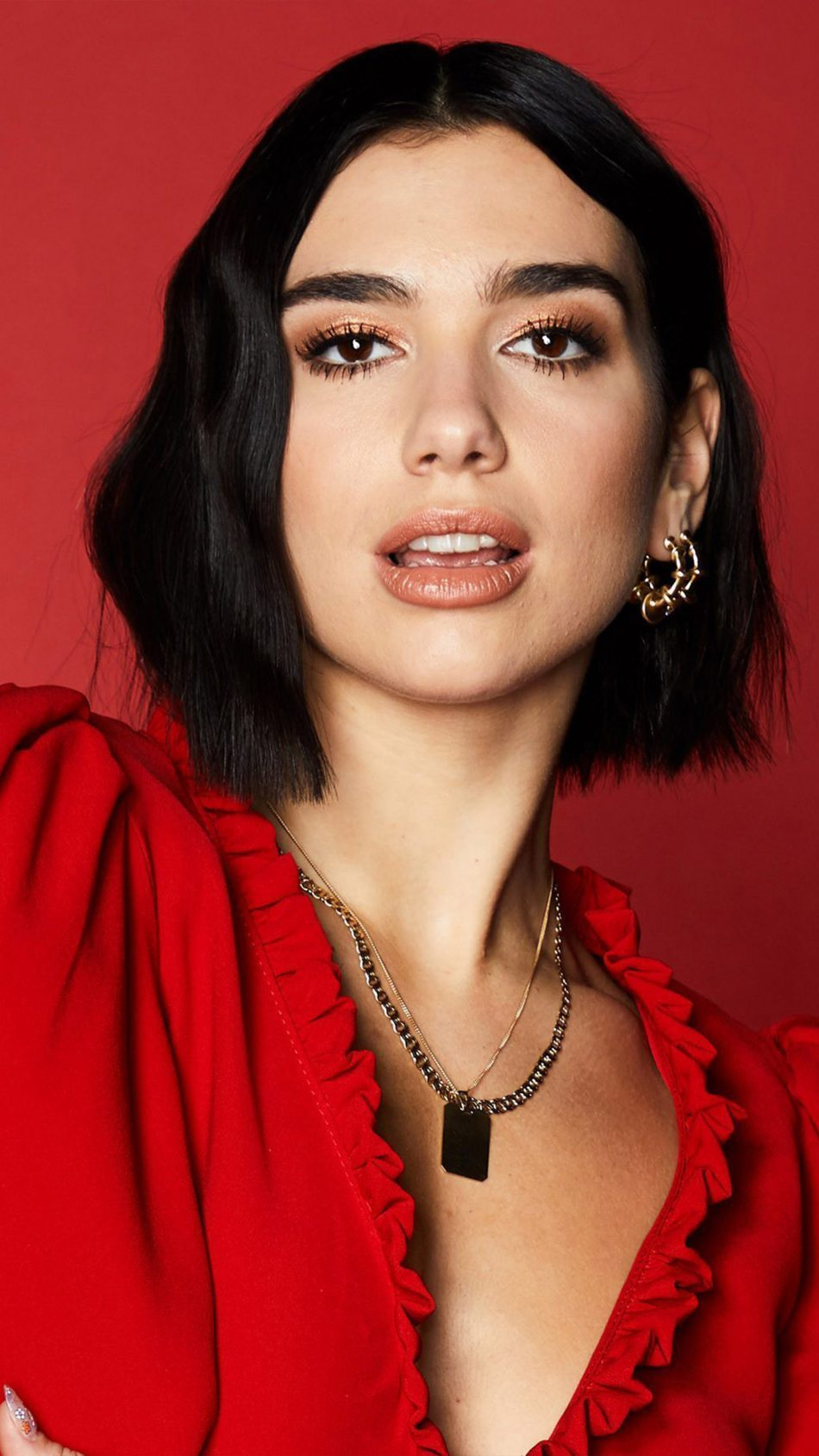 Dua Lipa In Red Dress 2019 4K Ultra HD Mobile Wallpaper