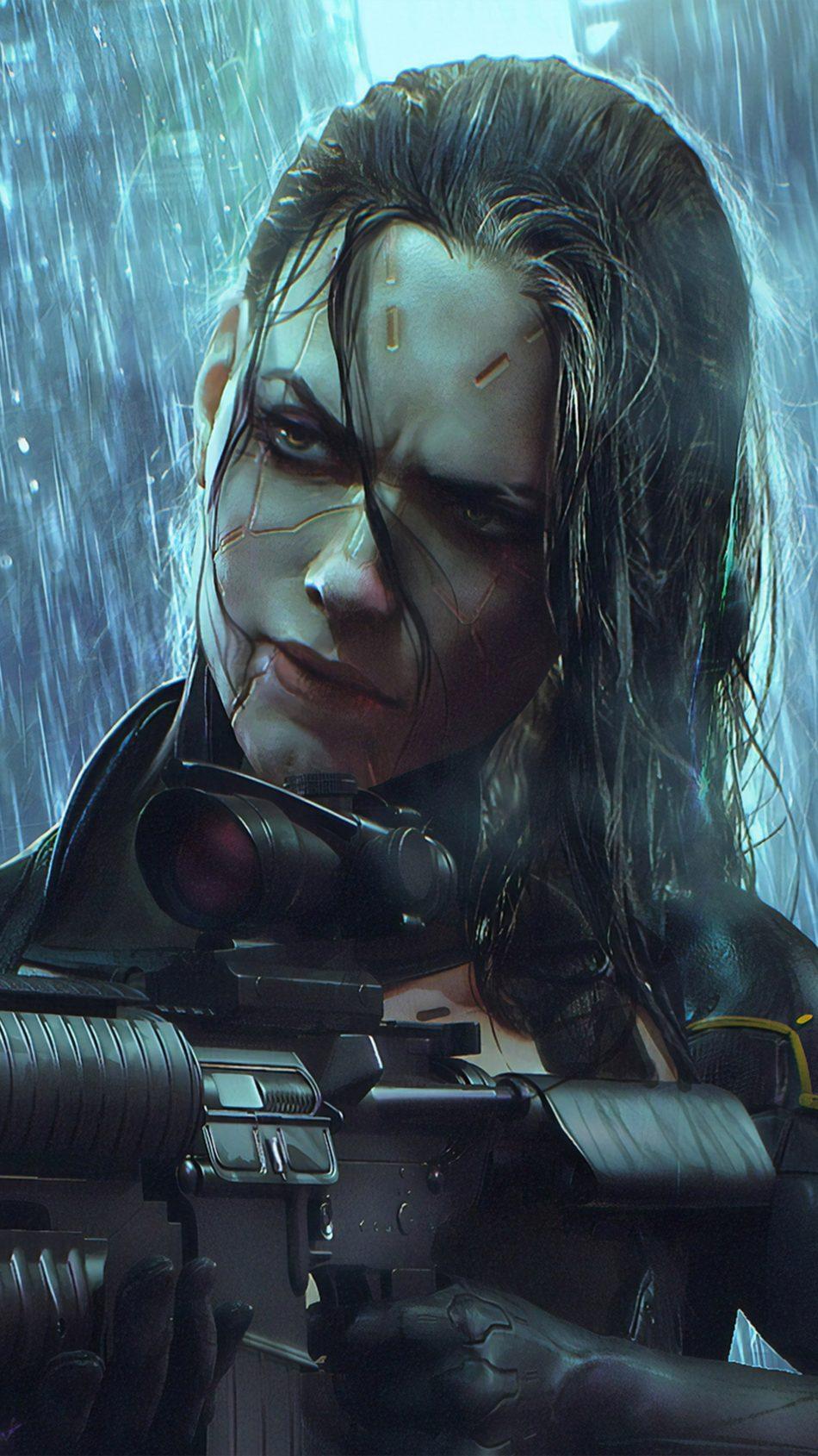 Woman Warrior Cyberpunk 2077 4K Ultra HD Mobile Wallpaper