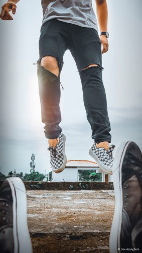 Man On Air Jump Sneakers Photography 4K Ultra HD Mobile Wallpaper