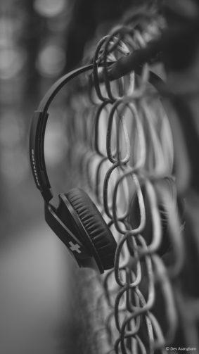 Music Headphone Black & White 4K Ultra HD Mobile Wallpaper