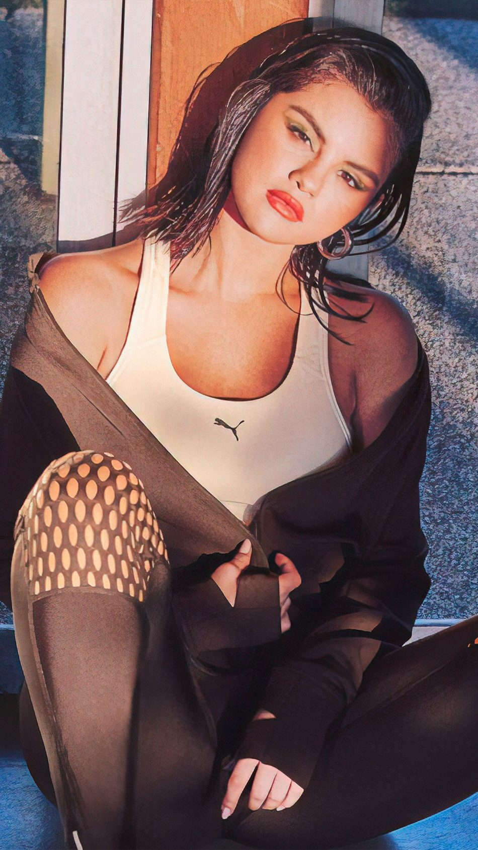 Selena Gomez Puma Mirror Reflection Photoshoot 4K Ultra HD Mobile Wallpaper