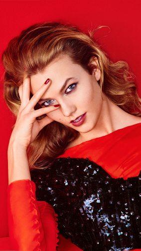 Karlie Kloss Red Background 2019 4K Ultra HD Mobile Wallpaper
