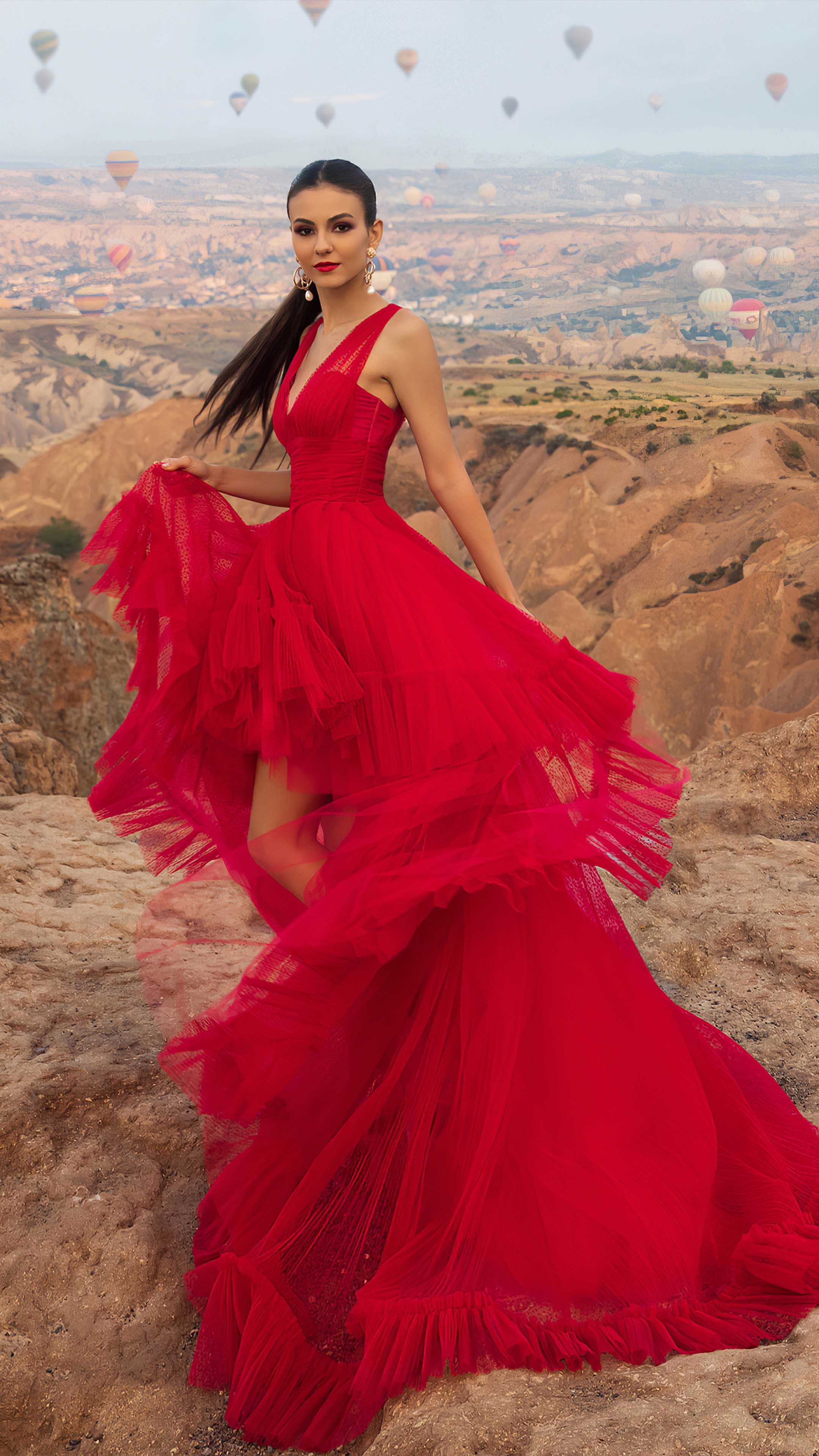 Victoria Justice In Beautiful Red Dress 4K Ultra HD Mobile Wallpaper