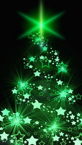 Christmas Tree Green Lights 4K Ultra HD Mobile Wallpaper