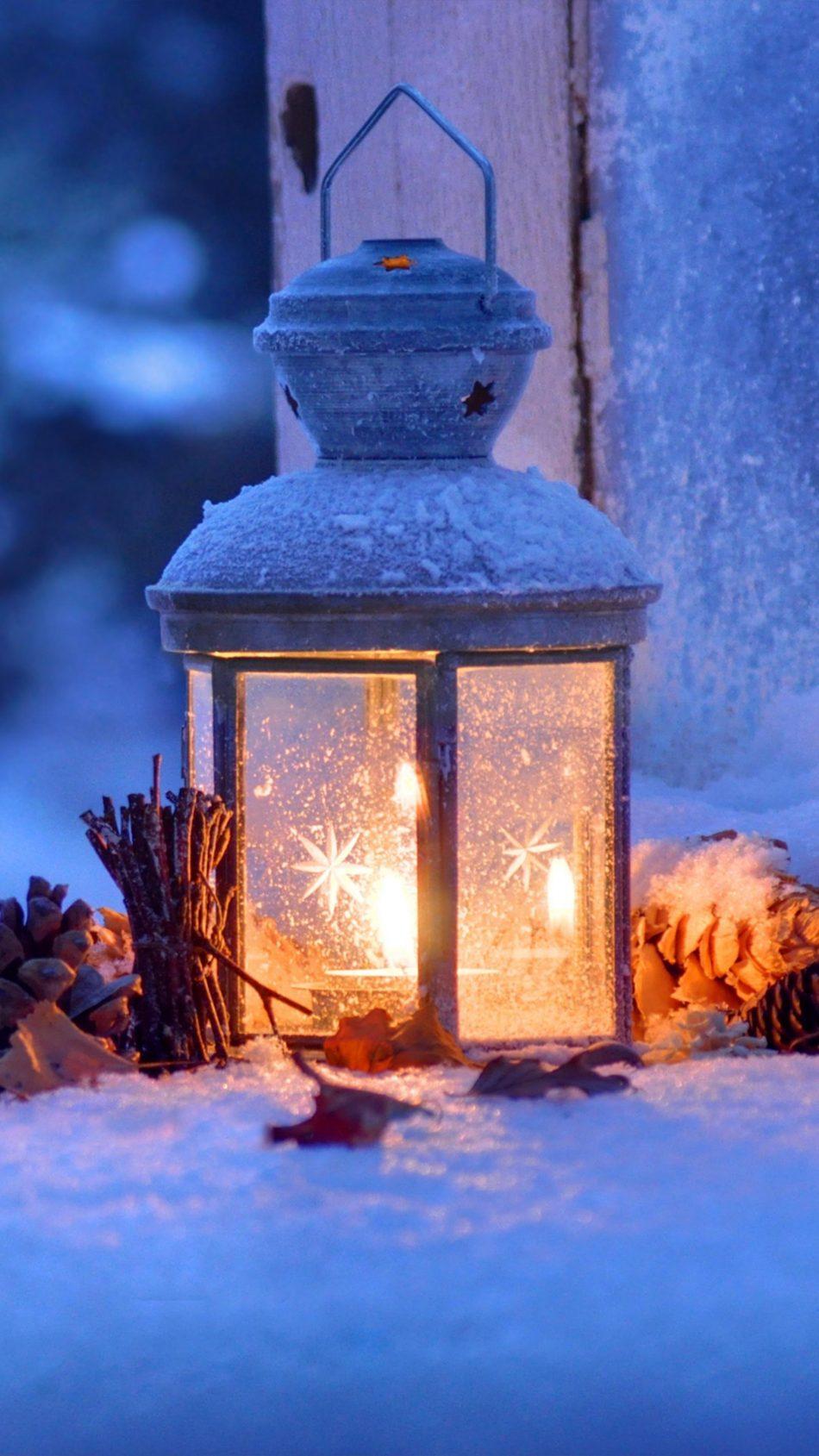 Lantern Snow Winter Christmas Eve 4K Ultra HD Mobile Wallpaper