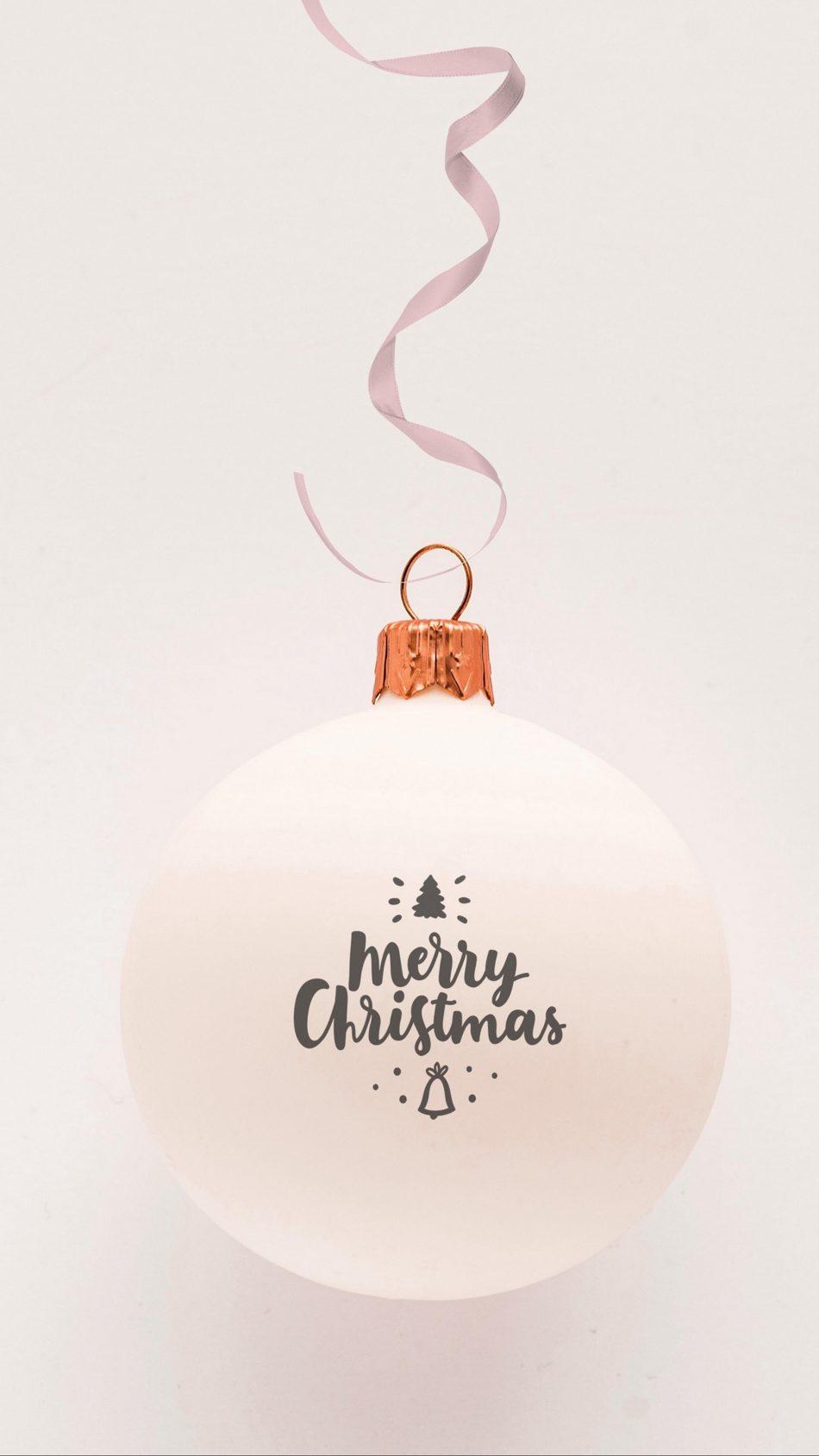 Merry Christmas Ball Ornament White Background 4K Ultra HD Mobile Wallpaper