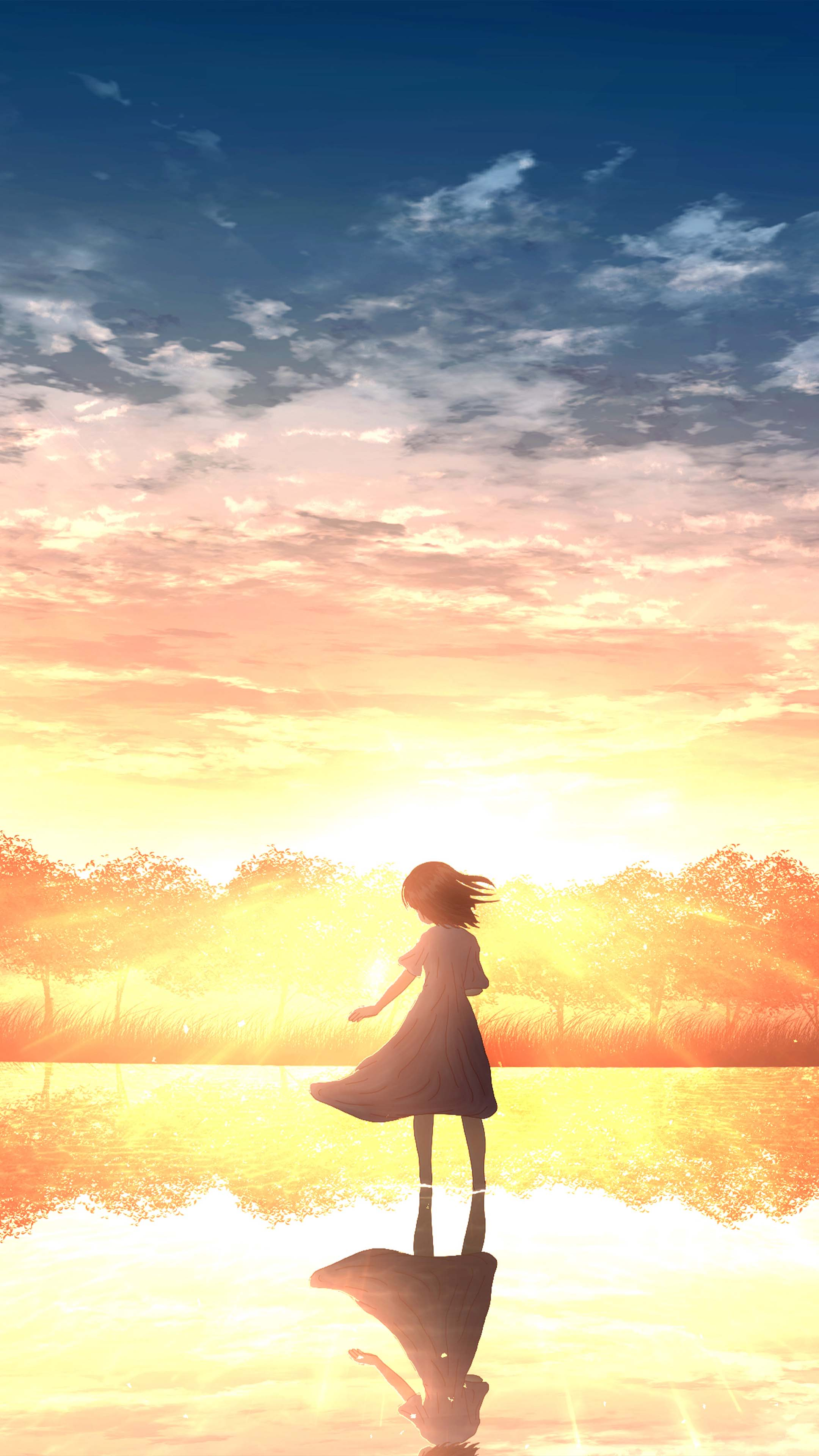 Anime Girl Sunset Free 4K Ultra HD Mobile Wallpaper