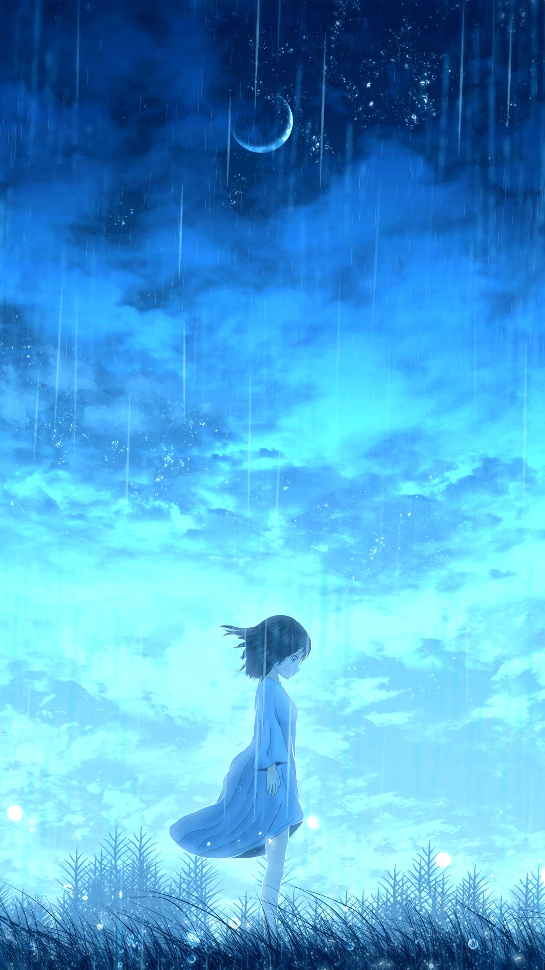 Anime Lonely Night Girl Free 4K Ultra HD Mobile Wallpaper