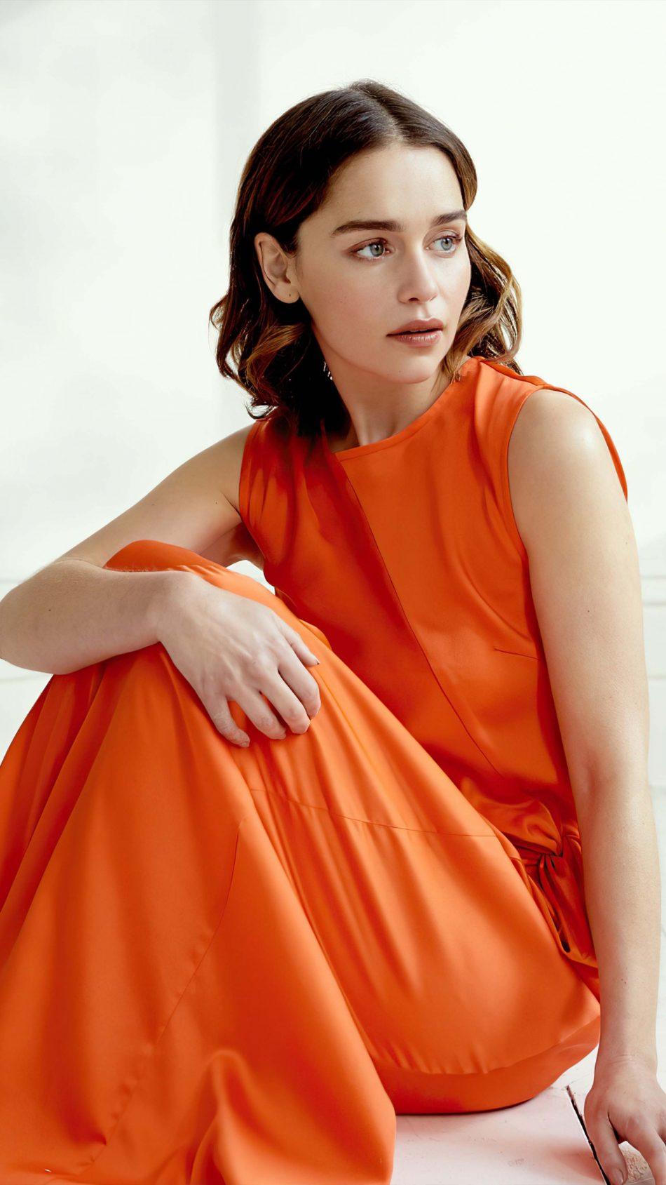 Emilia Clarke In Orange Dress 2020 4K Ultra HD Mobile Wallpaper
