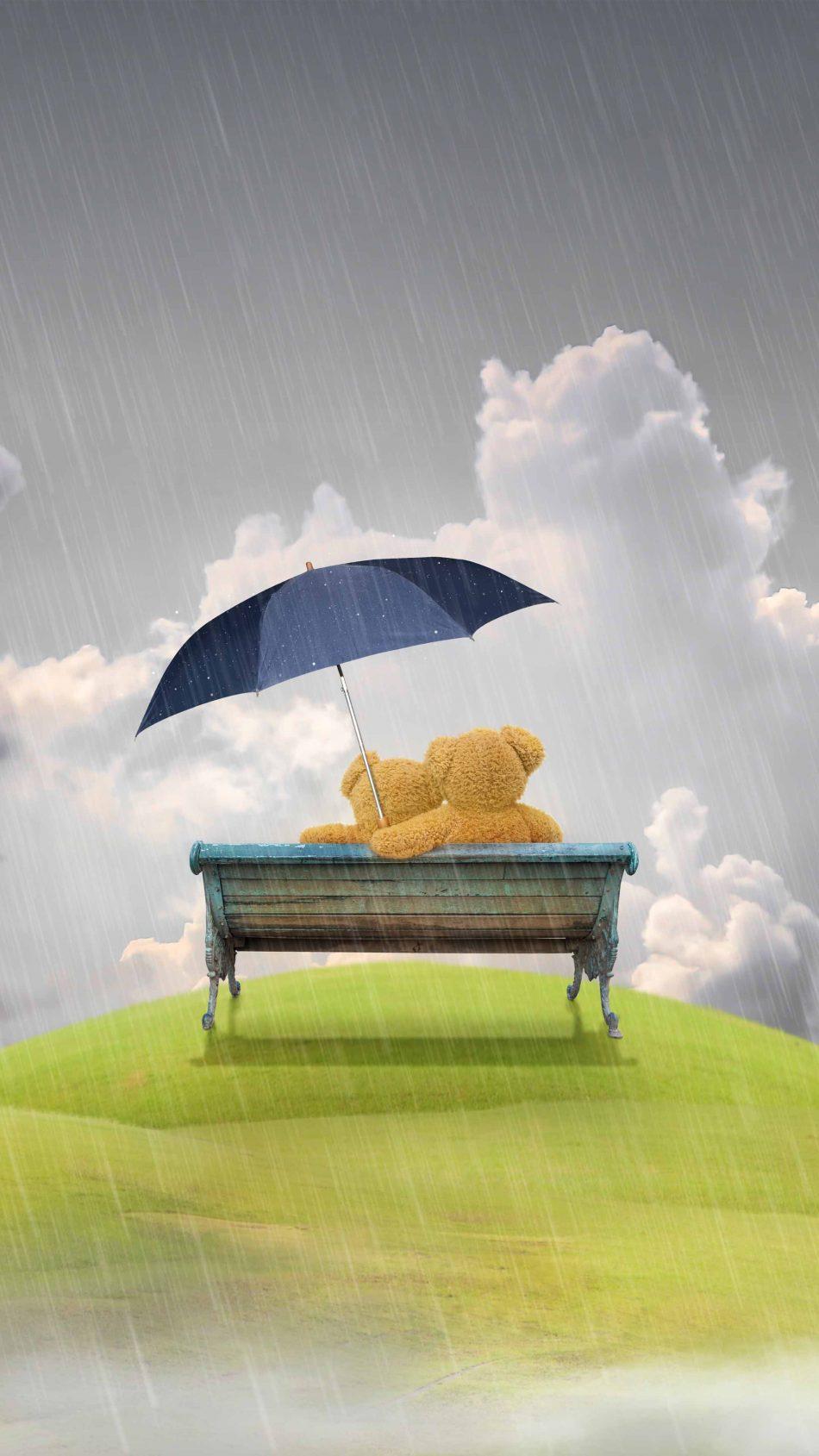 Teddy Bears Couple Rain Umbrella Valentine's Day 4K Ultra HD Mobile Wallpaper
